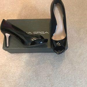 Via Spiga Black patent leather peep toe high heel